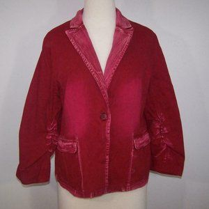 Angela Plus Jean Jacket Blazer XXL Red Faded Design Cotton Ruched Sleeves NEW